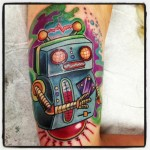 Old Robot New School tattoo by Tantrix Body Art