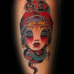 Old School Fortune-teller tattoo by Three Kings Tattoo
