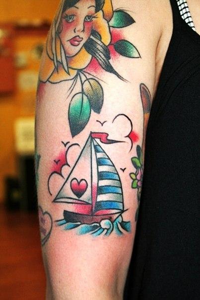 Old School Heart Sail Nautical tattoo   Best Tattoo Ideas Gallery