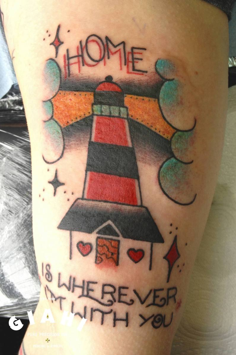 Old School Home is  Wherever I'm With You Lettering tattoo by Elda Bernardes