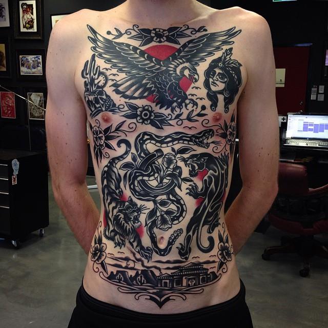 Old School Ideas Blackwork tattoo Aaron Ashworth on Body