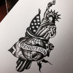 Old School Rendition Statue of Liberty tattoo idea by Robert Samuel