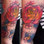 Old School Rose Aquarelle tattoo by Liisa Addi Kask