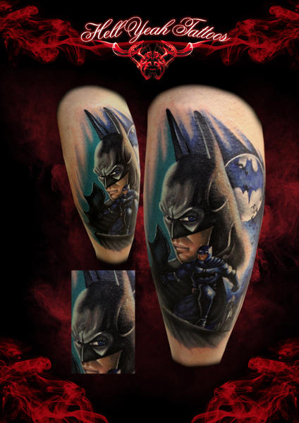 Old Type Batman tattoo by Hellyeah Tattoos