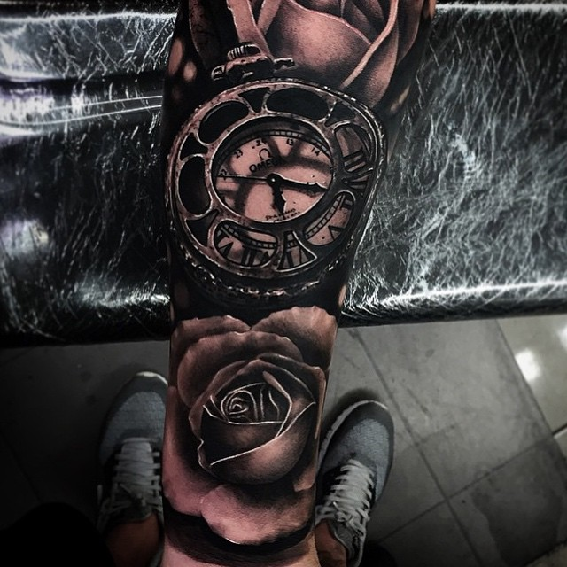Omega Blackwork Clock And Roses Realistic 3D tattoo by Da Ink