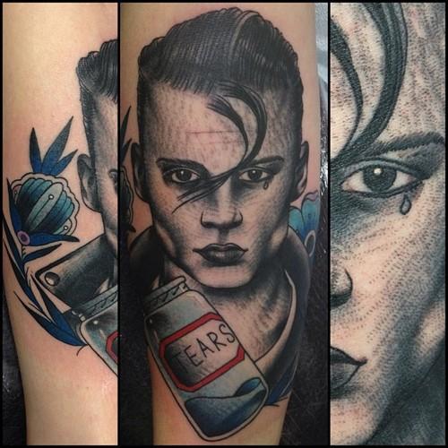 One Tear Movie tattoo by Nick Baldwin