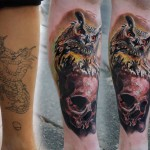 Owl and Skull Realistic Cover Up tattoo by Piranha Tattoo Supplies