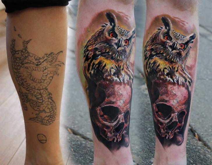 01148f8e4 Owl and Skull Realistic Cover Up tattoo by Piranha Tattoo Supplies ...