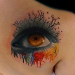 Paint Flowed Artistic Eye tattoo by Andres Acosta