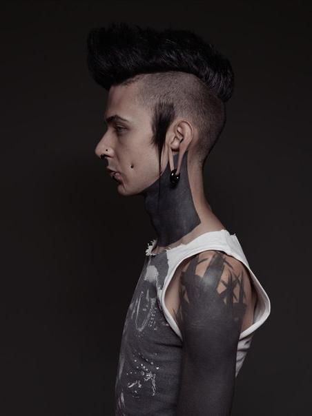 Paintbrush Shoulder and Neck Blackwork tattoo