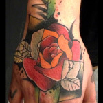 Pale Petals Squares Rose tattoo on hand by Live Two