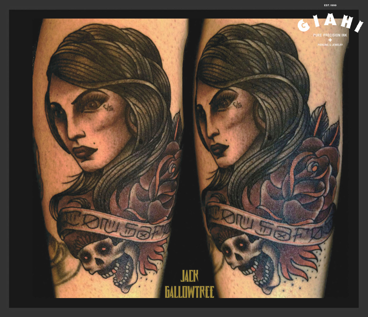 Pale Rose Girl Skull tattoo by Jack Gallowtree