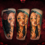 Patches on Face Girl Realistic tattoo by Hellyeah Tattoos