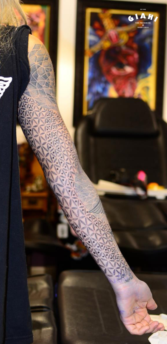 Petals Dots Triangles Dotwork tattoo sleeve by Andy Cryztalz