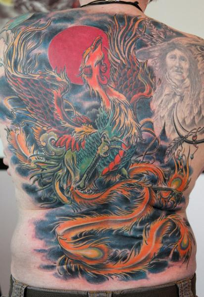 Phoenix Japanese tattoo on Back by Skin Deep Art