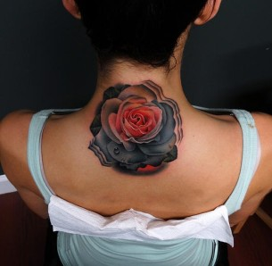 Pink And Grey Rose tattoo by Andres Acosta on Back of Neck