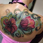 Pink Back Flowers tattoo by Mike Woods
