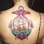 Pink Bow-tie Anchor Ship Nautical tattoo