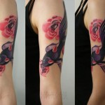 Pink Flowers Black Fish tattoo by Sasha Unisex