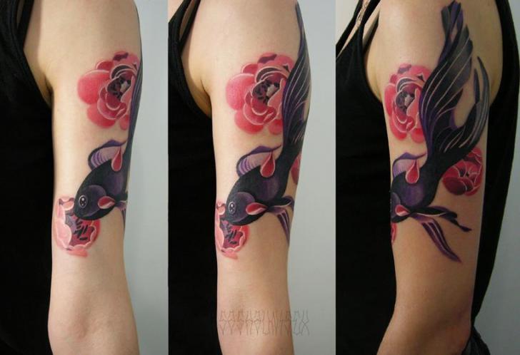 Pink Flowers Black Fish tattoo by Sasha Unisex