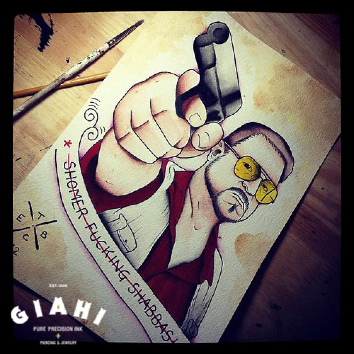 Pointed Gun Shomer Fucking Shabbash Lettering tattoo by Elda Bernardes