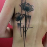 Poppies Black Trash Polka tattoo by Skin Deep Art