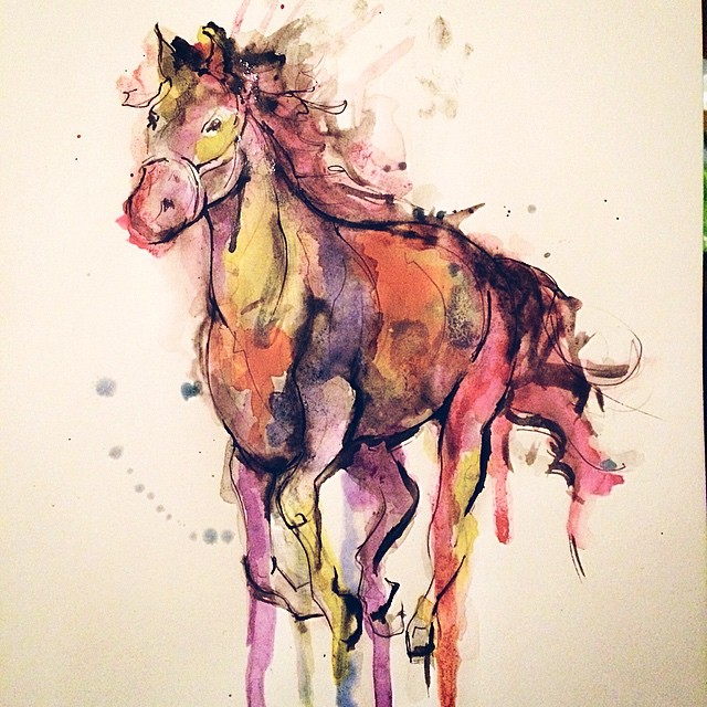 Prancing Horse Watercolor tattoo idea byKym Munster