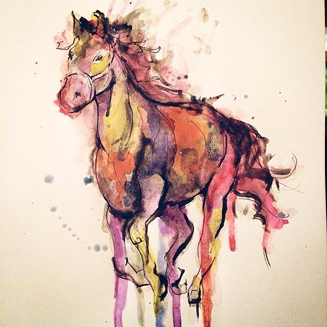Prancing Horse Watercolor tattoo idea byKym Munster