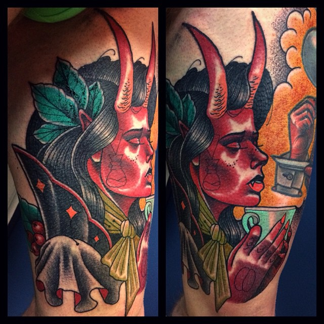 Praying Succubus tattoo by Panas Bartosz