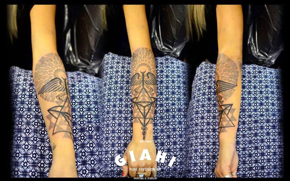 Pyramid Wings Dotwork tattoo on Arm by Andy Cryztalz