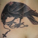 Raven Crusifix Blackwork tattoo by Three Kings Tattoo