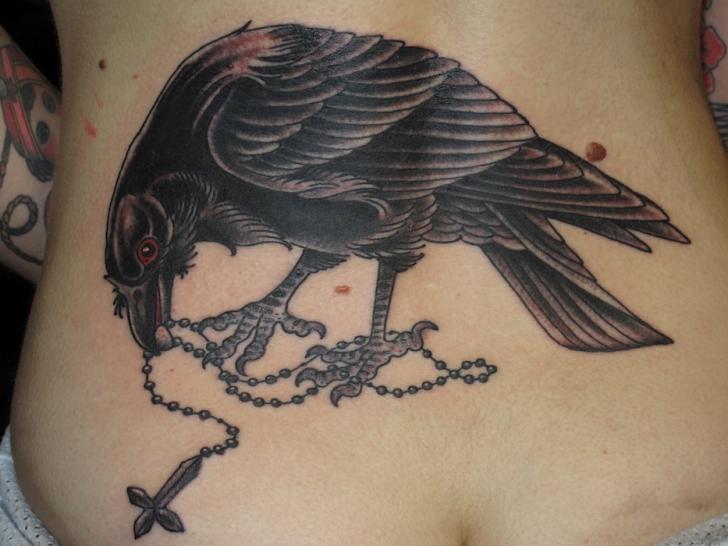Raven Crusifix Blackwork tattoo by Three Kings Tattoo
