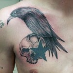 Raven Star Skull tattoo by Tantrix Body Art