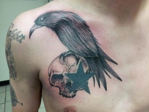 Raven Star Skull tattoo by Tantrix Body Art