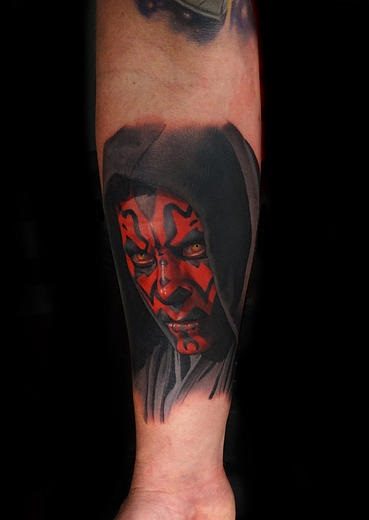 Realistic Darth Maul tattoo