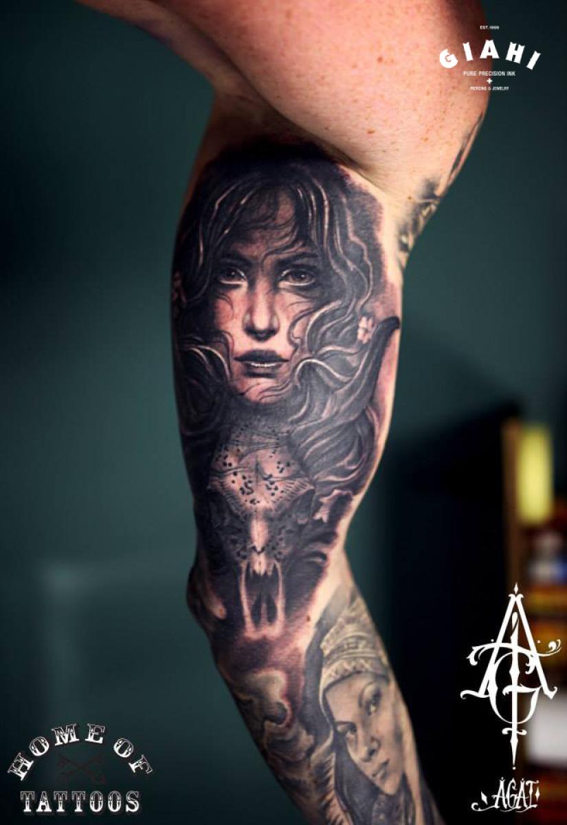 Realistic Girl tattoo by Agat Artemji | Best Tattoo Ideas ...