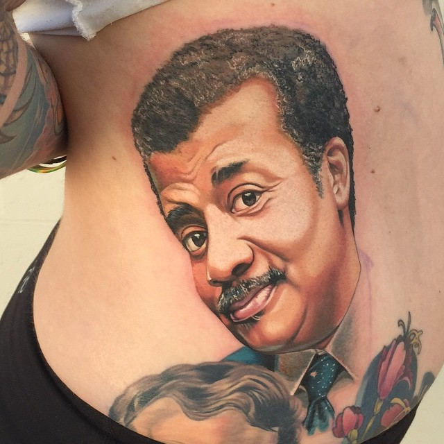 Realistic Neil DeGrasse Tyson tattoo  Tony Sklepic