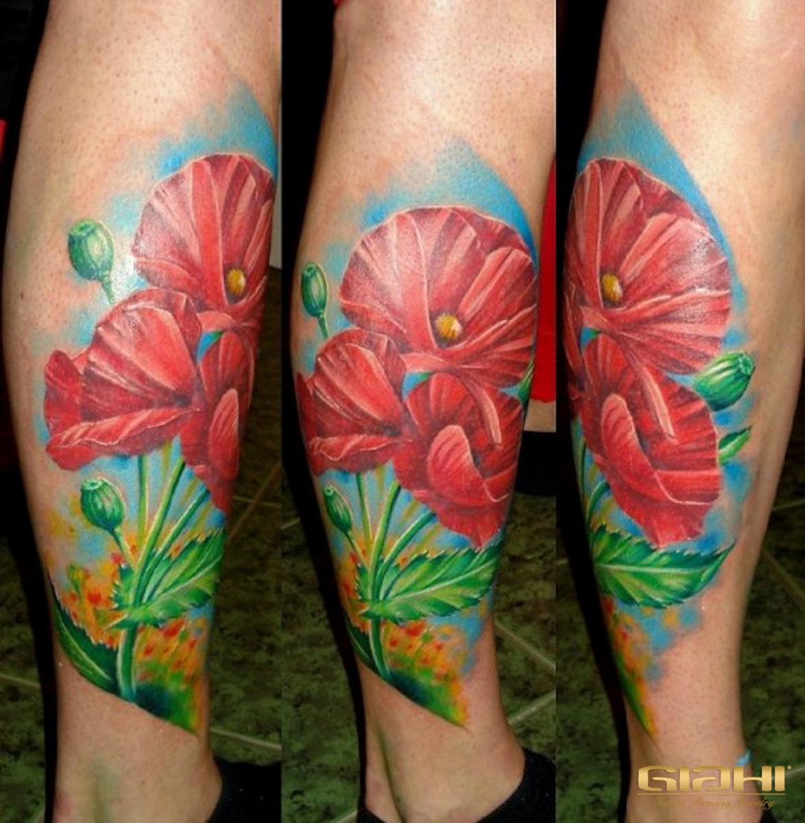 Realistic Poppy Flowers tattoo by Agat Artemji