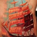 Realistic Red Sails Nautical tattoo