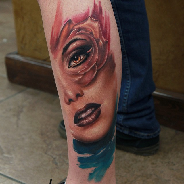 Realistic Rose Petals Painted Girl Face tattoo by Rich Pineda
