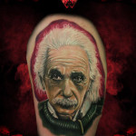 Realistic Serious Albert Einstein tattoo by Hellyeah Tattoos