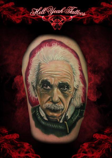 Realistic Serious Albert Einstein tattoo by Hellyeah Tattoos