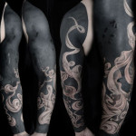 Realistic Smoke Blackwork tattoo Sleeve
