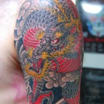 Red Belly Dragon Japanese tattoo by Illsynapse on Shoulder