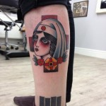 Red Cross Sister Old School tattoo by Three Kings Tattoo