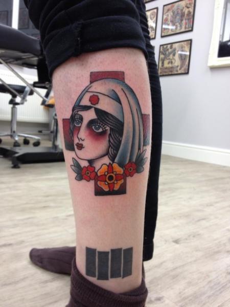 Red Cross Sister Old School tattoo by Three Kings Tattoo