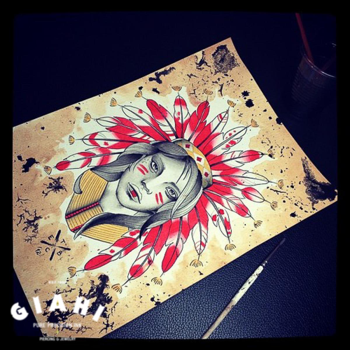 Red Feather Indian tattoo idea by Elda Bernardes