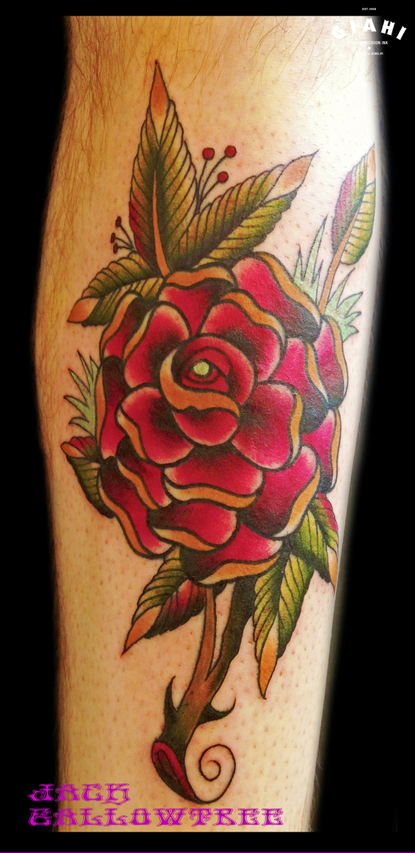 Red Flower tattoo by Jack Gallowtree