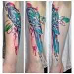 Red Head Parrot Aquarelle tattoo by Julia Rehme