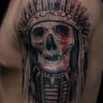 Red Paint Eye Indian Skull tattoo by Mumia Tattoo